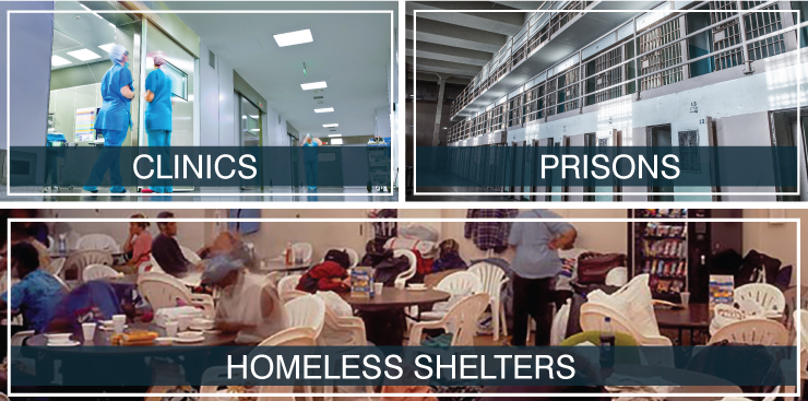 Clinics, Prisons, Homeless Shelters