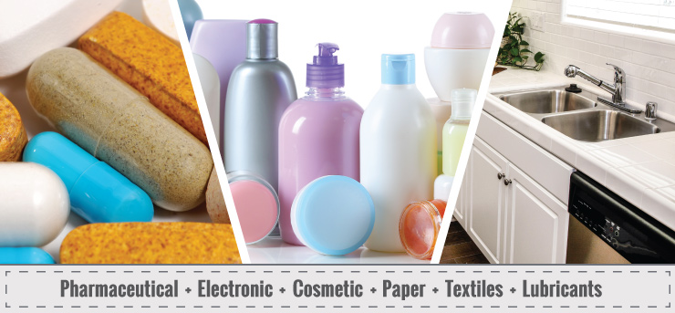 Pharmaceutical + Electronic + Cosmetic + Paper + Textile + Lubricants