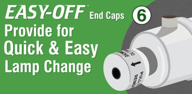 EASY-OFF End Caps Provide for Quick & Easy Lamp Change
