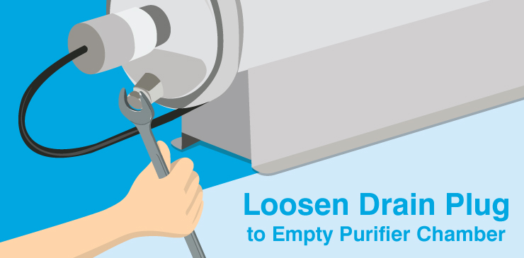 Loosen Drain Plug to Empty Purifier Chamber