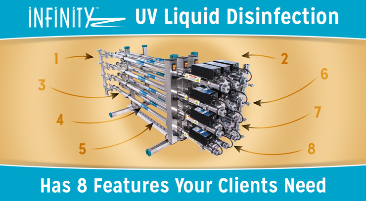Infinity UV Liquid Disinfection Has 8 Features Your Clients Need