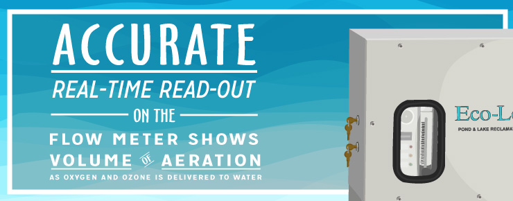 Accurate real-time read-out on the flow meter shows volume of aeration as oxygen and ozone is delivered to water