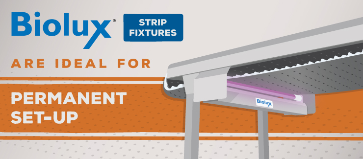 Biolux Strip Fixtures Germicidal UV Air and Surface Irradiation for Permanent Set-Up