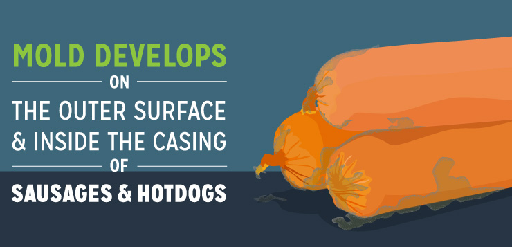 Mold Develops on the Outer Surface and Inside the Casing of Sausages and Hotdogs
