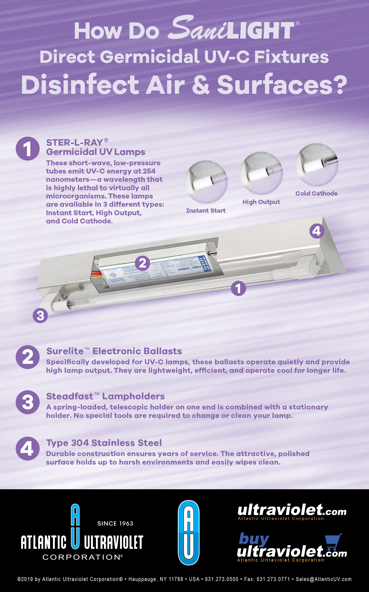How Do SaniLIGHT® Direct Germicidal UV-C Fixtures Disinfect Air & Surfaces? - Infographic