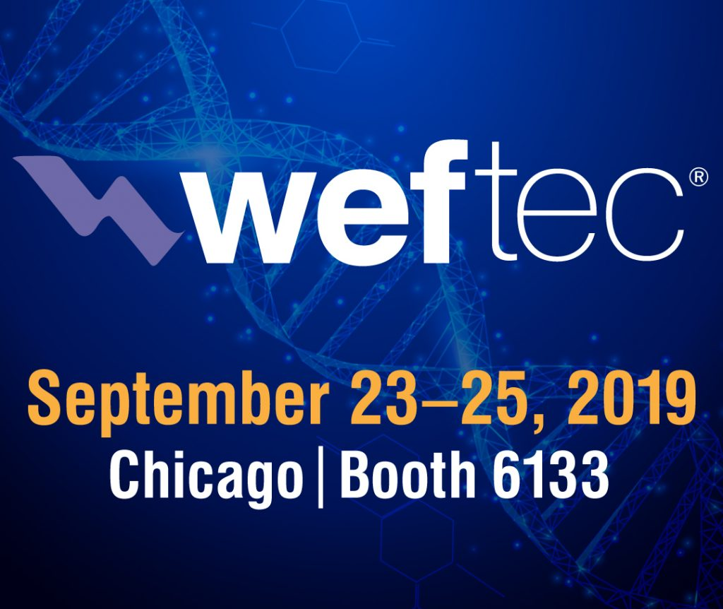 WEFTEC Tradeshow: September 23–25, 2019 in Chicago (Booth 6133)
