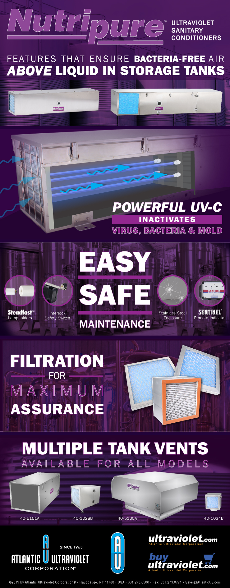 Nutripure UV-C Sanitary Conditioners – Features That Ensure Bacteria-Free Air Above Liquid in Storage Tanks