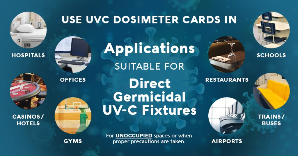 Use UVC Dosimeter Cards in Applications Suitable for Direct Germicidal UV-C Fixtures (For UNOCCUPIED spaces or when proper precautions are taken.)